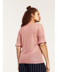 Violeta by Mango - Pink Ruffled Detail Sweater - Lyst