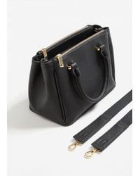 Mango - Black Saffiano-effect Tote Bag - Lyst