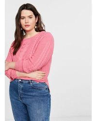 Mango Contrasting Knit Sweater Pink