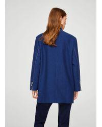 Mango Blue Contrast Seam Coat