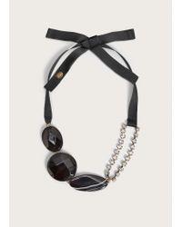 Violeta by Mango - Black Beaded Metal Pendant Necklace - Lyst