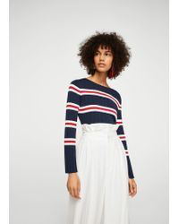 Mango Blue Striped Embossed Sweater