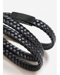Mango - Black Triple Braided Bracelet - Lyst
