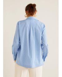 Mango Blue Striped Cotton Shirt