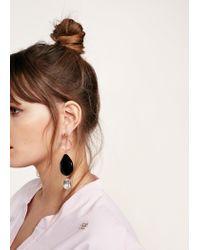 Violeta by Mango - Black Crystal Beads Earrings - Lyst