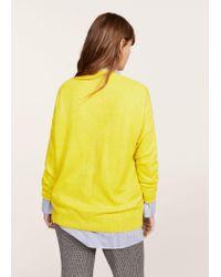 Violeta by Mango | Yellow Textured Fine-knit Sweater | Lyst