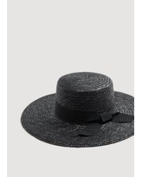 Mango - Black Straw Fedora Hat for Men - Lyst