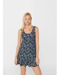 Mango - Green Fluted Hem Dress - Lyst