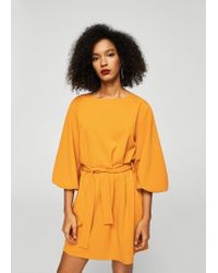Mango - Yellow Bow Belted Dress - Lyst