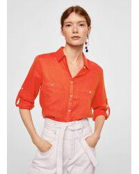 Mango - Orange Pocket Linen Shirt - Lyst