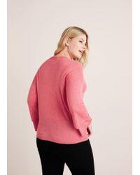 Violeta by Mango Pink V-neck Wool Sweater