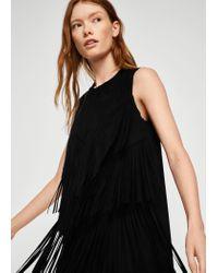Mango - Black Fringe Dress - Lyst
