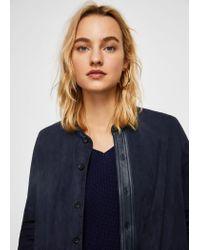 Mango Blue Seamed Leather Coat