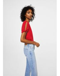 Mango - Red Bows Sleeve T-shirt - Lyst