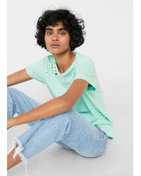 Mango | Green Ripped Detail T-shirt | Lyst