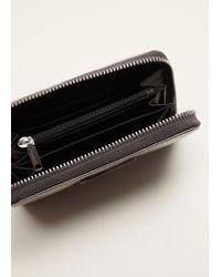 Mango - Metallic Zip Pebbled Wallet - Lyst