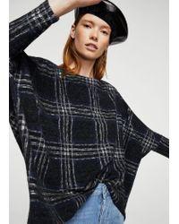Mango Blue Square Textured Sweater