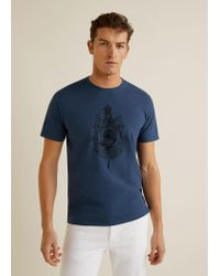 Mango Blue Cotton Printed T-shirt for men