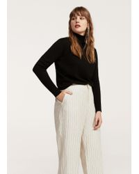 Violeta by Mango - Natural Striped Linen-blend Trousers - Lyst