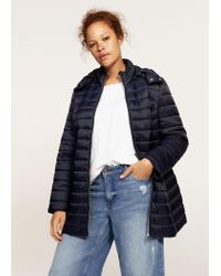 Violeta by Mango - Blue Detachable Hood Quilted Coat - Lyst
