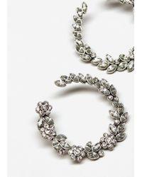 Mango - Metallic Faceted Crystal Hoop Earrings - Lyst