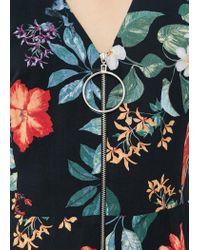 Mango | Black Floral Print Jumpsuit | Lyst