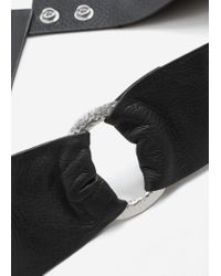 Mango - Black Ring Leather Belt - Lyst