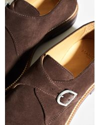 Mango - Brown Suede Monk-strap Shoes for Men - Lyst