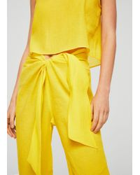 Mango - Yellow Commited Collection Bow Soft Fabric Trousers - Lyst