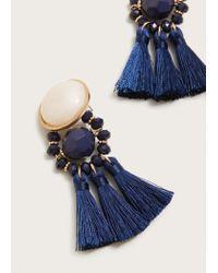Violeta by Mango Blue Beaded Tassel Earring