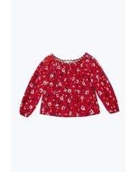 Marc Jacobs - Red Painted Flower Peasant Blouse - Lyst
