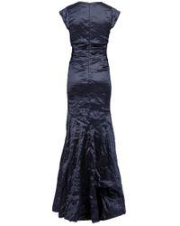 Nicole Miller Blue Surplus Metal Gown