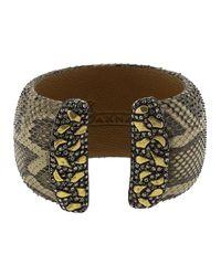 Yossi Harari Multicolor Python And Leather Cuff