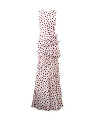 Oscar de la Renta | White Carnation-Print Silk Gown | Lyst