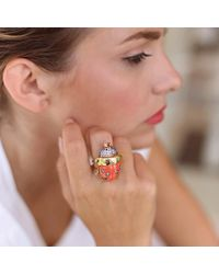 Silvia Furmanovich - Multicolor Coral And Diamond Ladybug Ring - Lyst