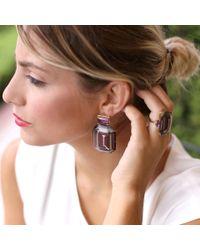 Silvia Furmanovich - Multicolor Marquetry Purple Geometric Wood Earrings - Lyst