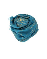 Bajra | Blue Splatter On Wool Shawl | Lyst