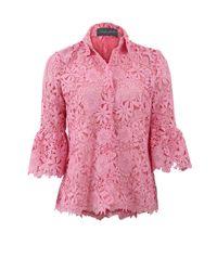 Monique Lhuillier Pink Lace Ruffle Cuff Blouse