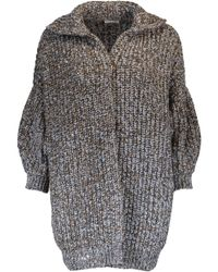 Brunello Cucinelli Gray Chunky Paillette Ribbed Cardigan
