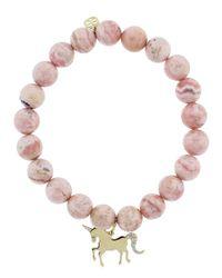 Sydney Evan - Multicolor Diamond Pave Unicorn Charm Bracelet - Lyst
