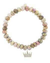 Sydney Evan | Metallic Pave Diamond Crown Charm Bracelet | Lyst