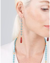 Sylva & Cie - Multicolor Carnelian And Turquoise Long Drop Earrings - Lyst
