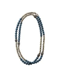 Hipchik Couture Blue Pyrite Necklace With Skull Detail