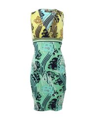 Roberto Cavalli Green Space Print Dress