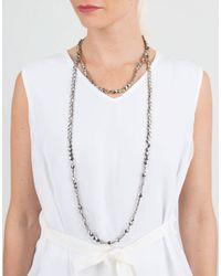 Brunello Cucinelli | Metallic Flat Bead Single Strand Necklace | Lyst