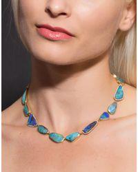 Irene Neuwirth Blue Boulder Opal And Diamond Necklace