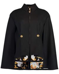 Versace Black Baroque Print Lined Fitted Cape