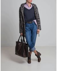 Brunello Cucinelli Multicolor Hooded Velvet Effect Tweed Cardigan W/ Macro Paillettes