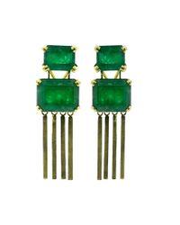 Sylva & Cie - Green Brazilian Emerald Earrings - Lyst