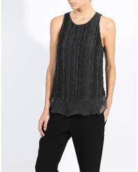 Brunello Cucinelli | Black Monili Stripe Tank | Lyst